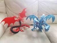 2 rare large yugioh dragon figure's slifer and blue eyes ultimate dragon