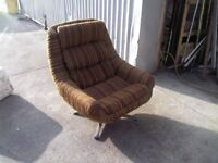 LARGE RETRO VINTAGE SOFA BUCKET ARM CHAIR