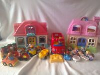 Fisher Price Little People Big Toy bundle: Houses and singing bus + vehicles, characters + furniture