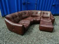 Stunning DFS Brown Leather Corner Sofa+Footstool *Mint Condition,Delivery Available*
