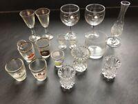 Selection of shot / brandy / sherry glasses / crystal