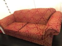 Kirkdale 3 seater sofa red & gold