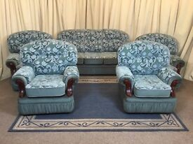 Green 5 Piece Suite - 3 Seater Sofa & 4 Armchairs - High Back
