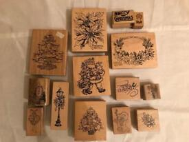14 Rubber Christmas Stamps for Cards & Crafts