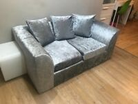 Crushed velvet two seater sofa