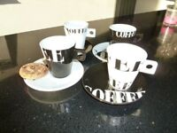 Set of Four Coffee Cups and matching Saucers 150ml