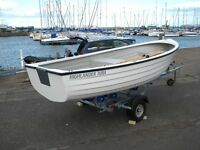 JURRA FISHING DINGHY COMPLETE WITH 3.5HP TOHATSU OUTBOARD MOTOR AND ROAD TRAILER