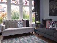 Silver/Mink JOHN LEWIS Chenille 3 Seater Sofa Chesterfield Button Back Sofa