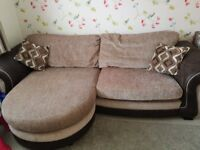 Dfs 4 seater fabric sofa with storage footstool, slight chipping to one leg of the storage