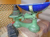 antique weighing scales with 2 sets of weights