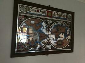 Vintage framed World Map Globe Mirror with Astrology detail