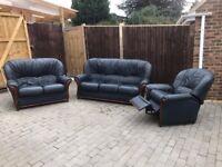 Blue 3 piece leather suite