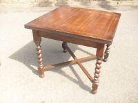 Great Antique Solid Oak Barley Twist Drawleaf Extending Table 1900's