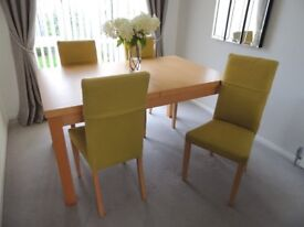 """""""Perfect for Xmas"""" - Beautiful Maple Dining Table and four matching chairs."""
