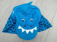 Blue dinosaur keppi sunhat 3-6 years - excellent condition
