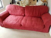 Red 3 Seater Sofa (with pull out double sofa bed) for sale