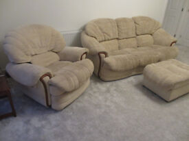 Fabulous comfortable and elegant 3 seater sofa with two reclining armchairs and a foot stool