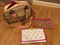 Yummy mummy pink lining Dalmatian changing bag