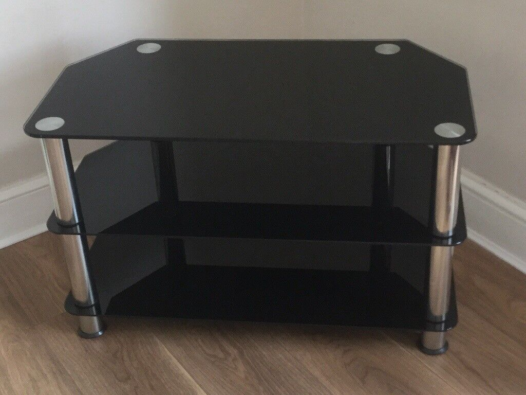 Black And Chrome Glass Tv Stand 3 Shelves In Corringham Essex