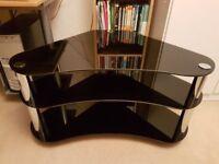 3 tier smoked glass TV stand