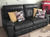 2 grey leather 3 seater electric reclining sofas
