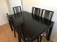 Ikea Dark Brown Dining Table and Customised Chairs - Great Condition