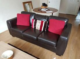 Brown faux Leather 3 seater sofa bed and 2 seater sofa