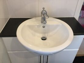 White Gloss Fitted Bathroom Vanity Unit including Sink & Tap