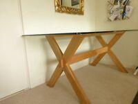 Six Seater Glass & Oak Dining Table - John Lewis Gene Rectangular 6 Seater Dining Table