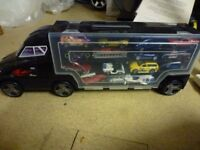 Toy car set with truck for storage