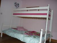 Double & single bunk bed wooden frame painted white