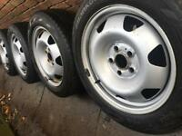 "17"" Genuine VW Transporter T5 T6 wheels +BRAND NEW Hankook Winter tyres alloy steel CAN POST"