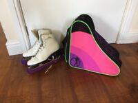 Uk size 5 figure skates, skate guards and bag