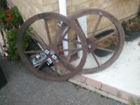 Wagon wheels wooden for garden use