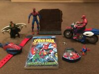 Spiderman toys and book