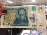 5 Pound Note - AK41 Serial! - £20