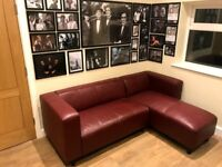 Red Leather effect corner sofa