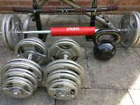 Home Gym Set - Inc. dumbell, barbell, kettlebell, pull-up bar, weights and bench
