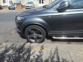 "AUDI Q7 GENUINE 21"" ALLOY WHEELS WITH TYRES SEGMENT SPOKE 4L0601025 AE"