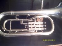 A TENOR HORN in SILVER PLATE , EXCELLENT CONDITION & PLAYING ORDER . PROFESSIONAL