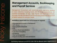 Bookkeeping, payroll and management accounts services