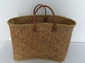 Basket with Leather Handle. 1 of 2 advertised