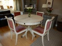 Solid Wood Shabby Chic Circular Vintage Expanding Table & 4 Upholstered Chairs