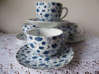 TETLEY TEA FOLK CUPS AND SAUCERS