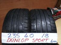 matching pair of 235 40 18 dunlops 6mm tread £80 pair sup & fittd(LOADS MORE AV 7-DAYS)