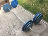 SOLID BARBELL AND SOLID CURLING BAR WITH 103KG OF BODY SCULPTURE CAST IRON WEIGHTS