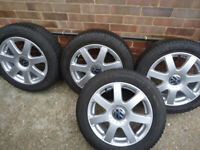 4 x 16 Alloy Wheels and Winter Tyres VW POLO BEETLE GOLF ETC 5x 100