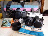 Praktica B100 Electronic 35mm Film SLR and 14inch computer screen