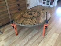 Industrial Style Cable Reel Coffee Table With Pipe Wrench Legs