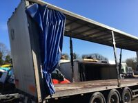 TRUCK TRAILER SCHMITTS 45 FOOT CURTAIN SIDE, 2005 DRUM BRAKES TOP DAMAGE WILL CUT DOWN LOVELY FLAT